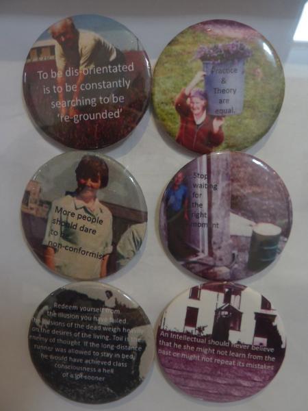 August 2013. Lavender Gray's Research Community Manifesto. Badges. Installation view. Caroline Gausden & Helen Smith.